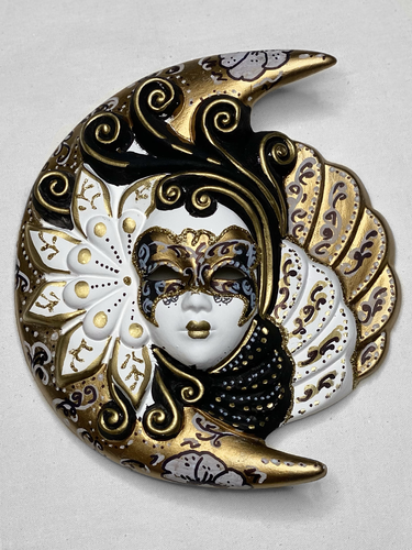 Venetian decorative wall mask Moon and Sun (M,black and white, golden)