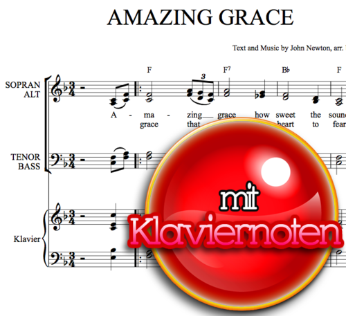 Amazing Grace - Klaviernoten zum Download