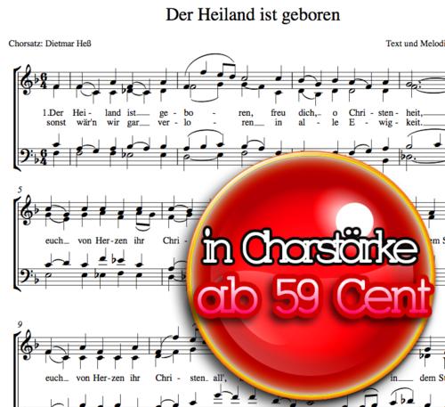 Der Heiland ist geboren - Chornoten zum Download