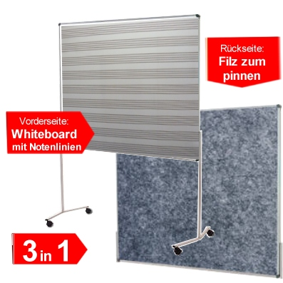 Whiteboard-Pinnwand mit Notenlinien