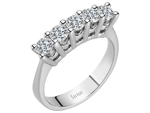 0,88 Carat 5 Diamanten Memoire Ring Memoirering