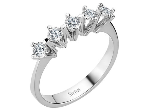 0,53 Carat 5 Diamanten Memoire Ring Memoirering
