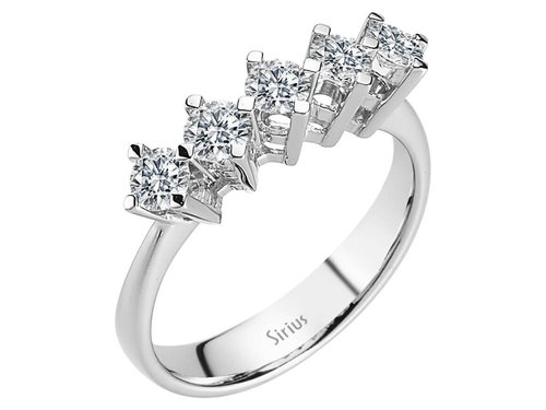 0,80 Carat 5 Diamanten Memoire Ring Memoirering