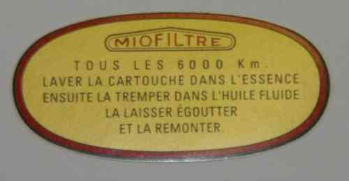 Sticker for air filter housing 'Miofiltre', Ami 6 + GS