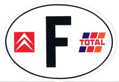 Magnetic sticker 'F' like France, with logos Citroen and Total