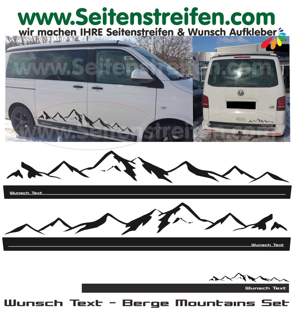 vw bus t6 wunsch text professionelle auto seitenstreifen. Black Bedroom Furniture Sets. Home Design Ideas