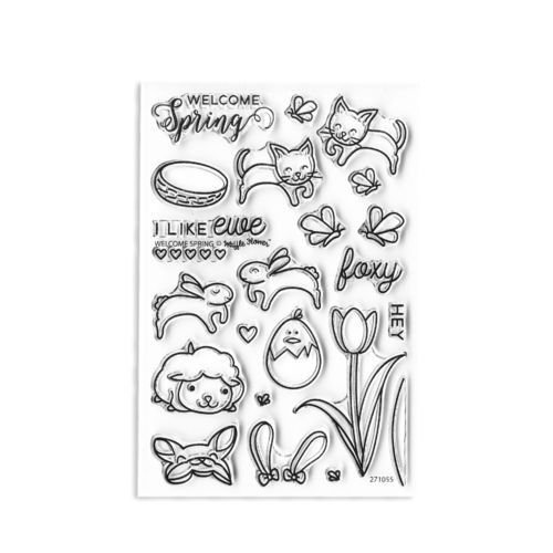 "clear stamp ""Welcome Spring"""
