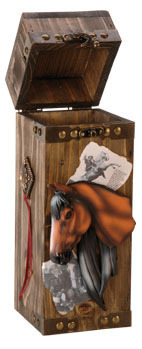 "Wooden Bottle Box "" Horse"""
