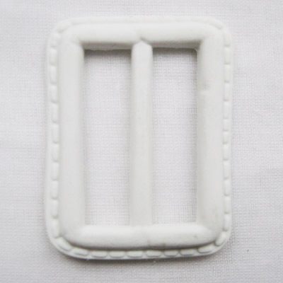 leather imitation buckle, white, small