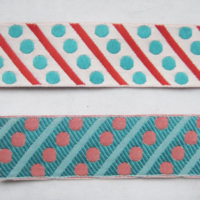Jacquard tape, reversible webbing, dots´n stripes, turquoise