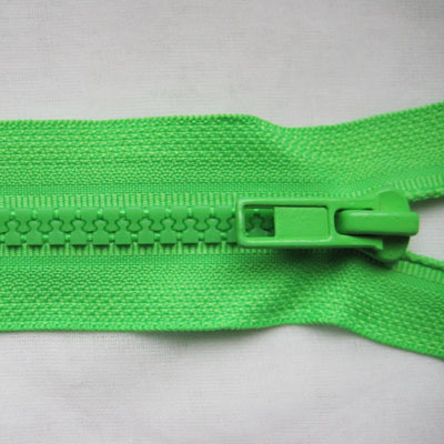 zipper plastic- molded, open- ended, fluorescent- green