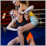 Wrestling match in ring – Vera vs Lisa