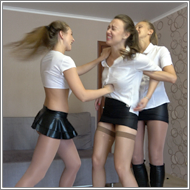 SCR477 - 2on1 punching catfight - Renee vs Maya and Tess