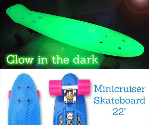 "Hellmet Minicruiser 22"" Vinyl Skateboard ""Glow in the dark"" Blue"