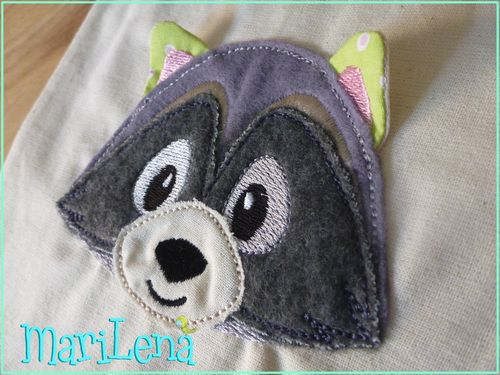 Raccoon Head 3D-Appliqué 4x4""