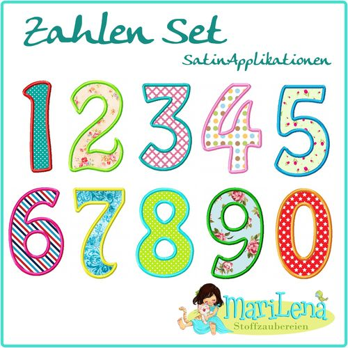 ♥ Numbers Set Hobo ♥ Appliqué 4x4""