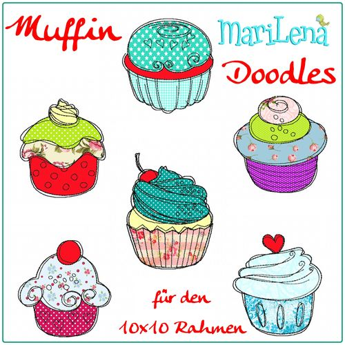 Set Muffin Doodles Appliqué 4x4""