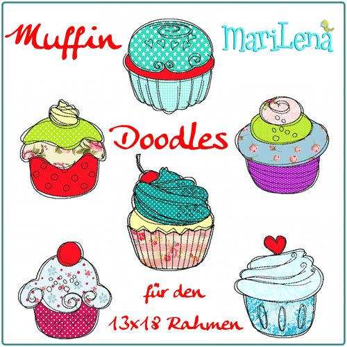 Set Muffin Doodles Appliqué 5x7""