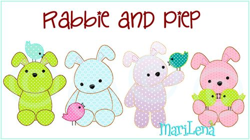 Rabbie and Piep Appli Set  10x10