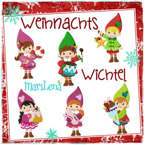 Set ♥ Christmas gnomes ♥ Filled 4x4""