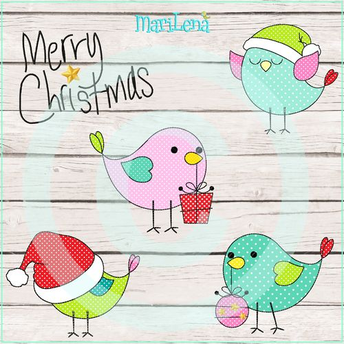 Set ♥ ChristmasBirds ♥ Appli 10x10