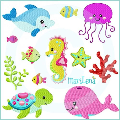 Set ♥ Sealife ♥ Filled 4x4""