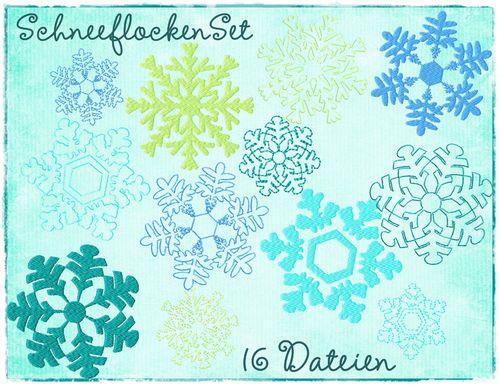 Snowflakes Set Filled 4x4""