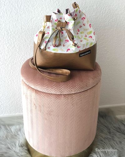Bucket Bag mit Flamingo - Ananas Stoff