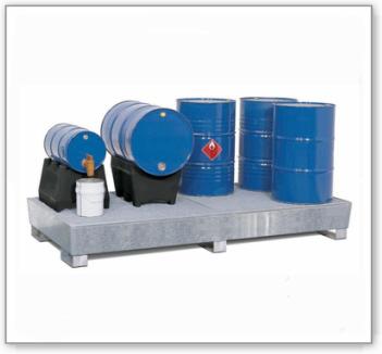 Auffangwanne PRW 65 aus Stahl, verzinkt, mit Gabeltaschen und Gitterrost, für 8 Fässer à 200 Liter