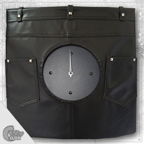 "Wall clock ""Crazy Clock-Leather Pants"""