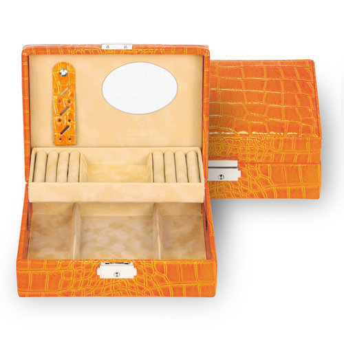 Britta Coffret à bijoux/ crocodile, orange (cuir)