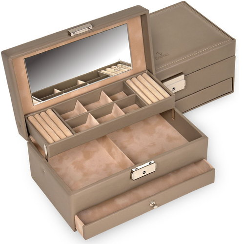 jewellery case Helen/ nature, taupe (leather)