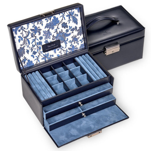 jewellery case Elly/ florage, navy (leather)