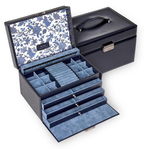 jewellery case Jasmin/ florage, navy (leather)