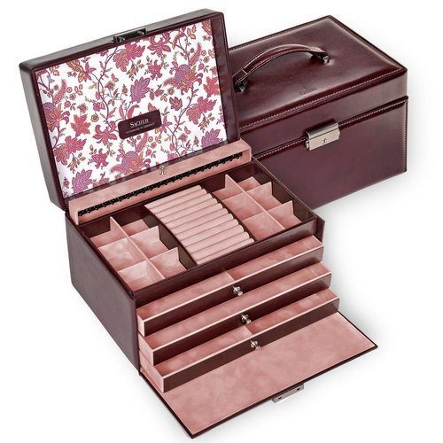 jewellery case Jasmin/ florage, bordeaux