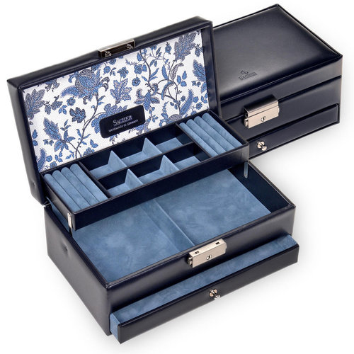 jewellery case Helen/ florage, navy (leather)