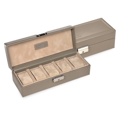 case for 5 watches / nature, taupe (leather)