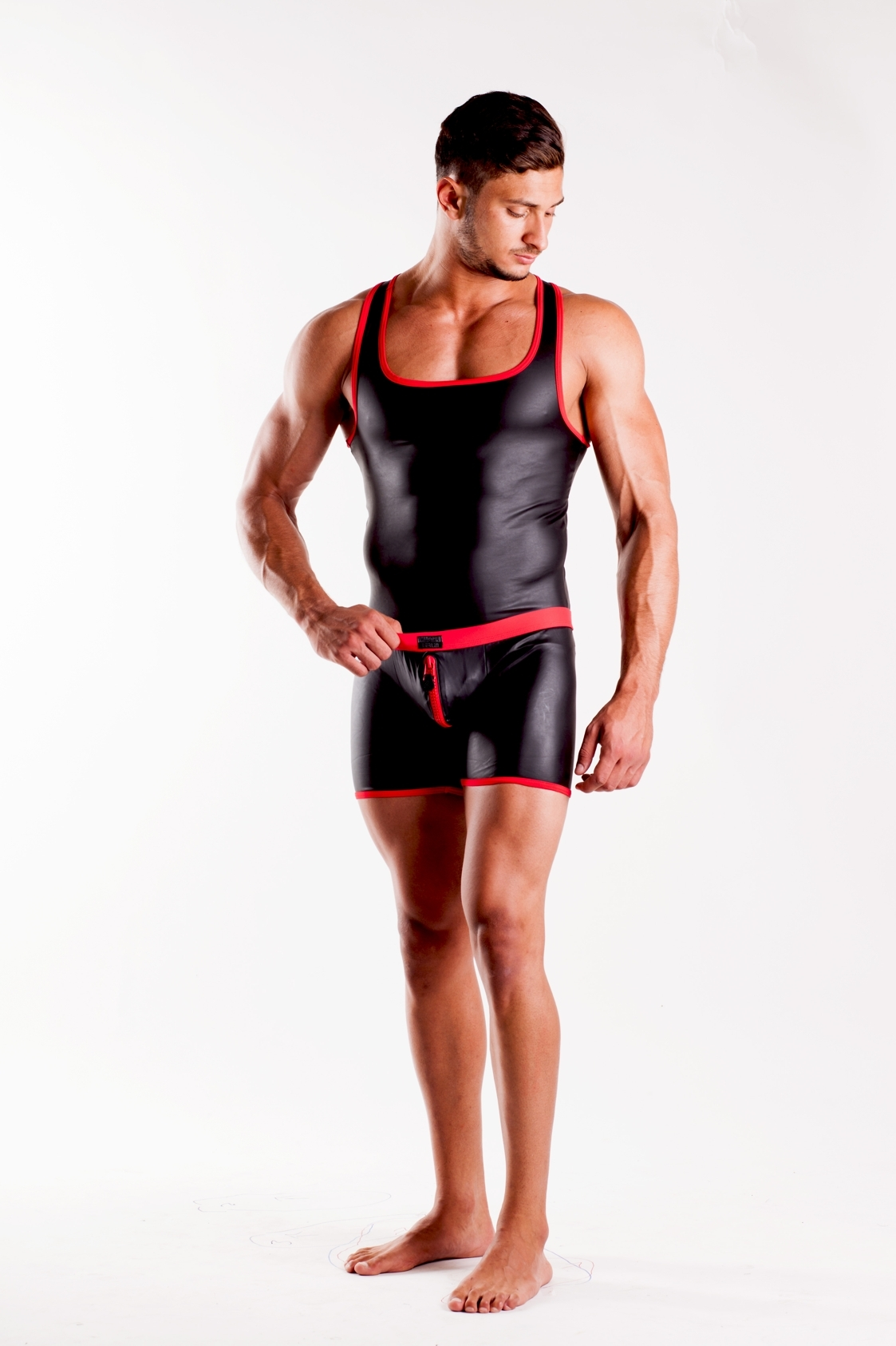 Leatherlike-Micro Muscle-Shirt schwarz-rot