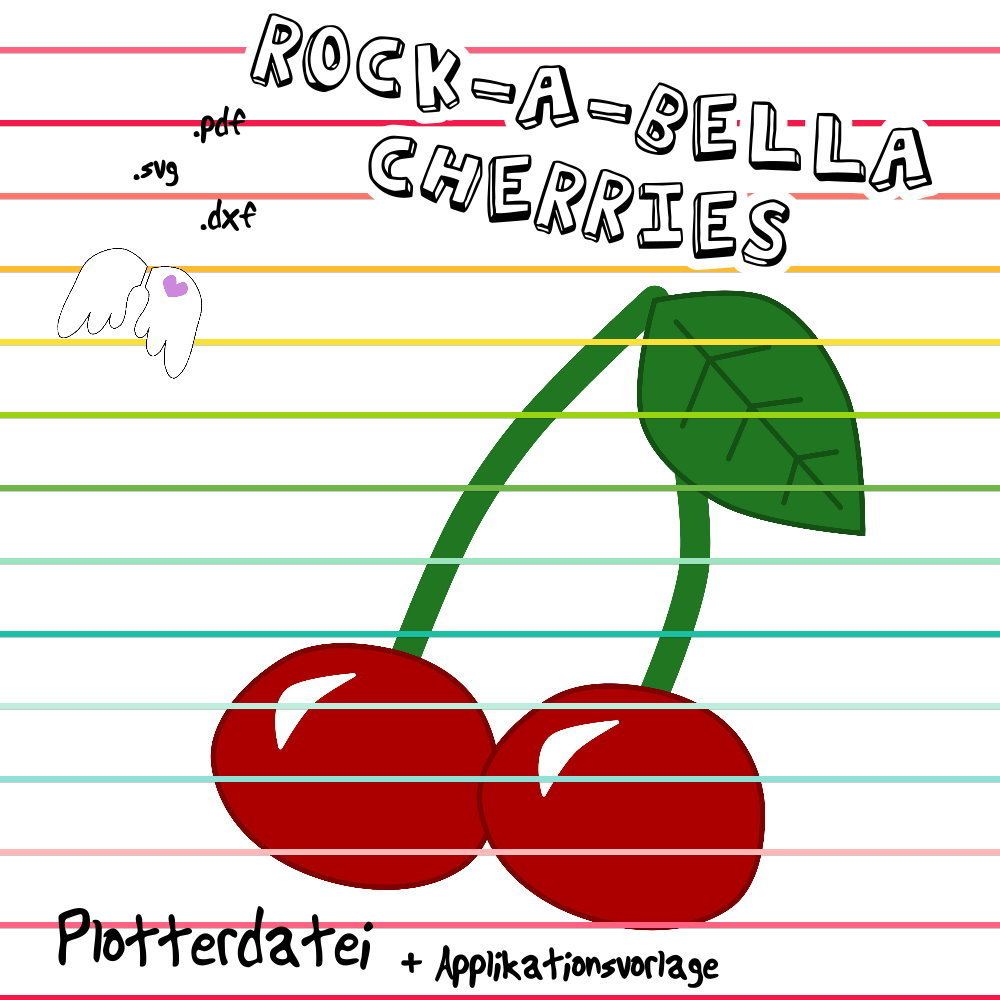 Rock-A-Bella cherries Kirschen Plottdatei und Applikationsvorlage