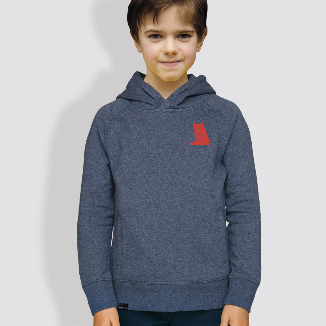 "Kinder Hoodie, ""Fuchs"", Mid Heather Blue"