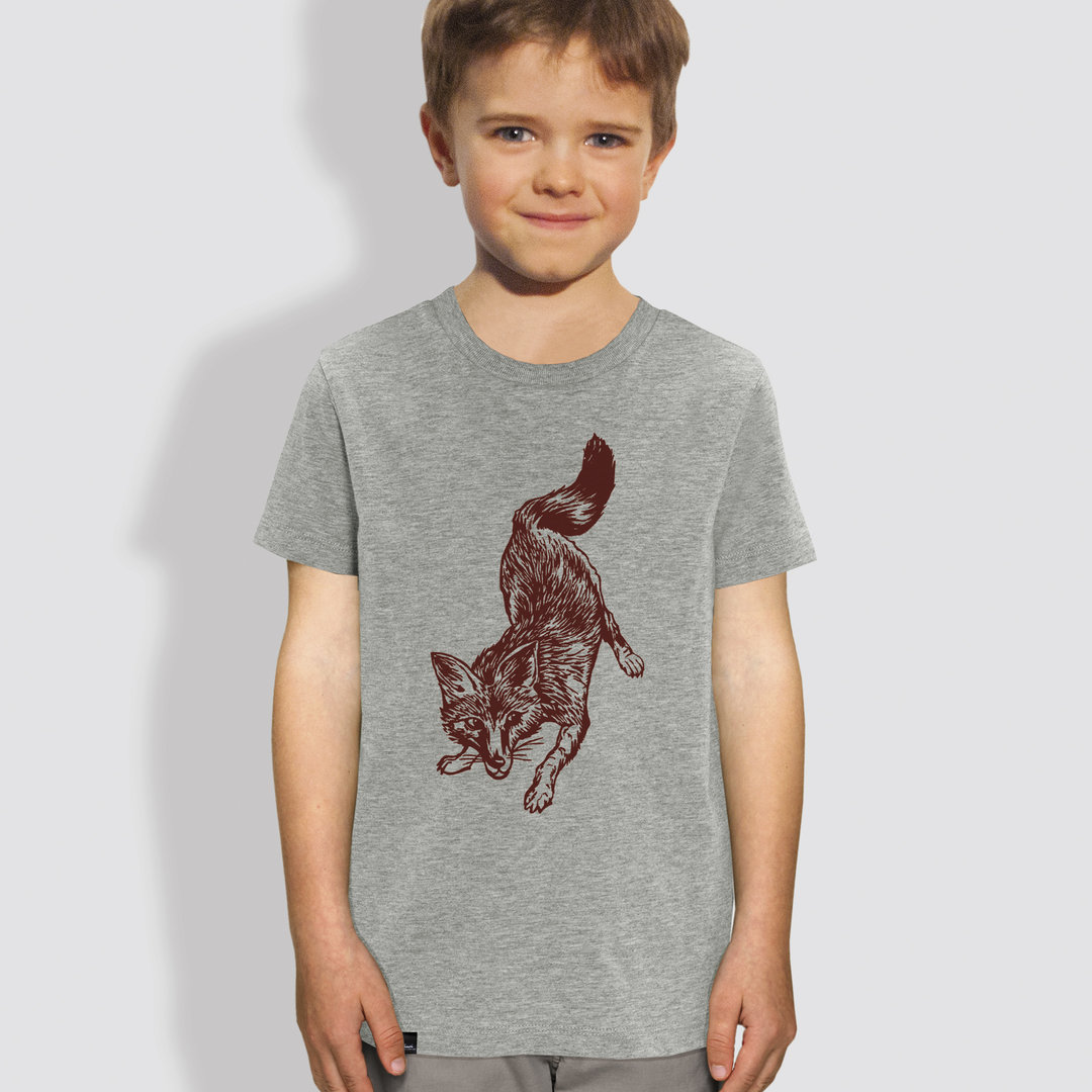 "Kinder T-Shirt, ""Fuchs"", Heather Grey"