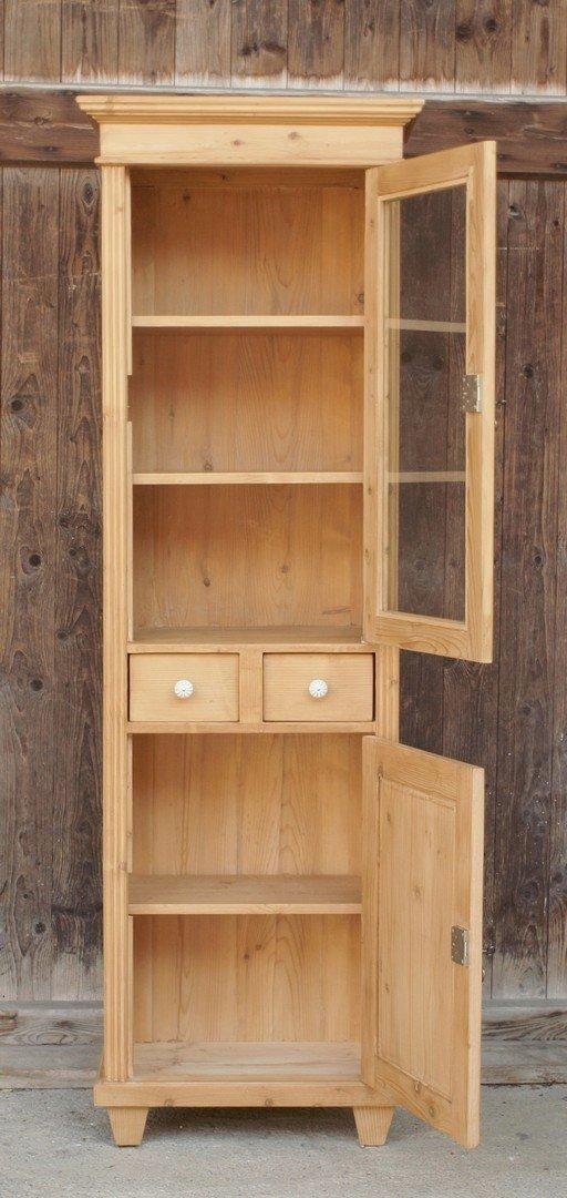 schmale vitrine mit 2 schubladen fichtenholz bauernm bel nachbau aus altem holz alte antike. Black Bedroom Furniture Sets. Home Design Ideas