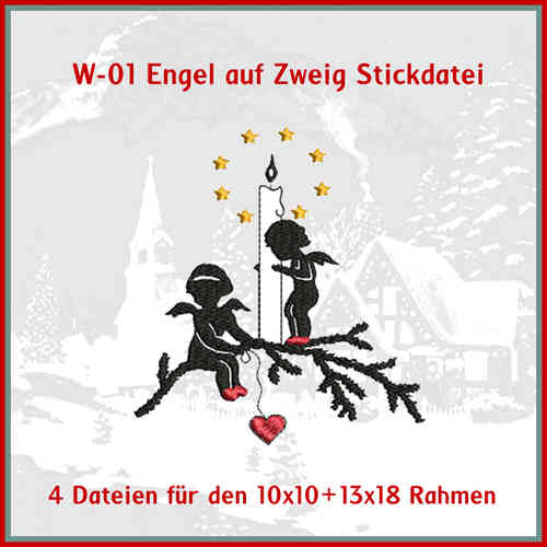W-01 - Engel Adventszweig Stickdatei
