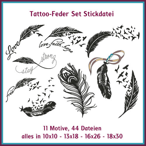 Tattoo Feder Set Stickdateien