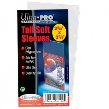 Ultra Pro Tall Soft Card Sleeves - 2-1/2 x 4-3/4 (100 Sleeves)