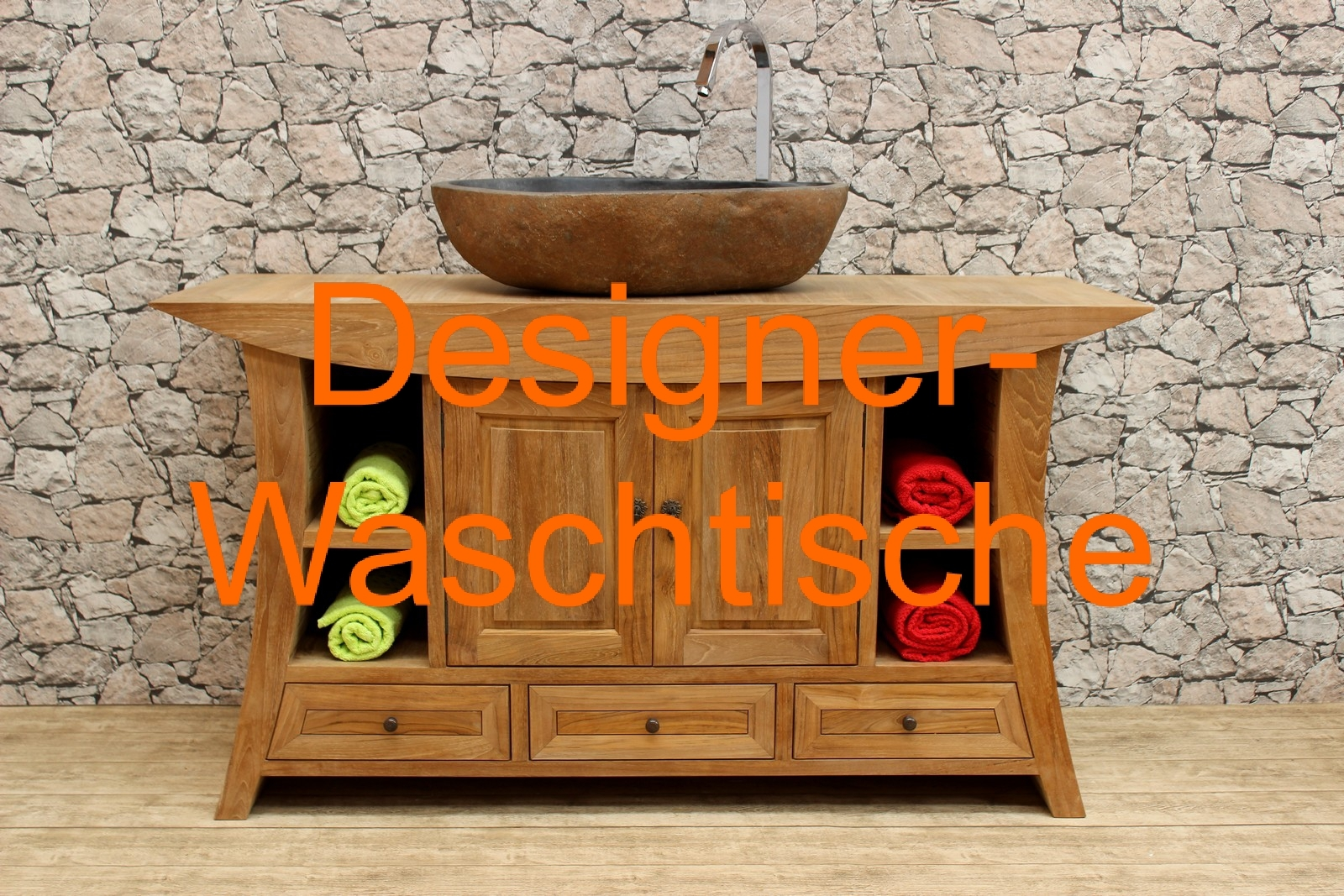 massiver holz waschtisch aus teak f r aufsatzwaschbecken. Black Bedroom Furniture Sets. Home Design Ideas