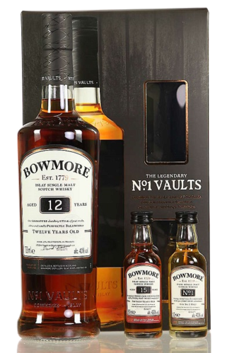 Bowmore 12 Years Old THE LEGENDARY N°1 VAULTS SET in Giftbox 40,2% Vol. 0,7 l + 2 x 0,05L