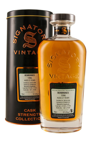 Signatory Vintage BENRINNES 21 Years Old Cask Strength Collection 1996 51% Vol. 0,7 l