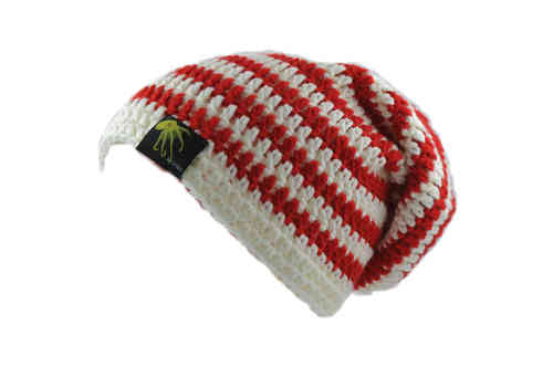 kallimari beanie in red and white striped