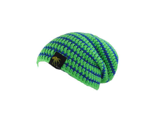 kallimari beanie in bright green and blue striped
